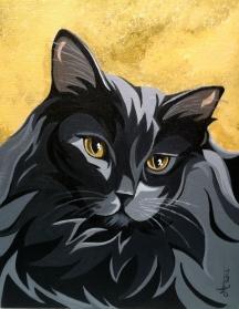 Long hair black cat